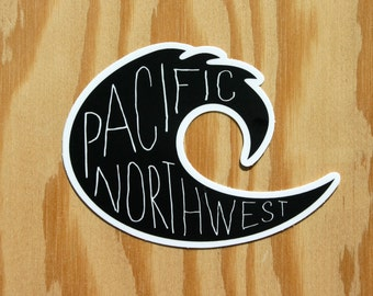 Pacific Northwest Decal -- PNW Wave Decal -- Pacific Ocean Wave -- Kayaking Decal -- Boating Decal -- Surfing Decal -- SUP Decal -- WA Coast