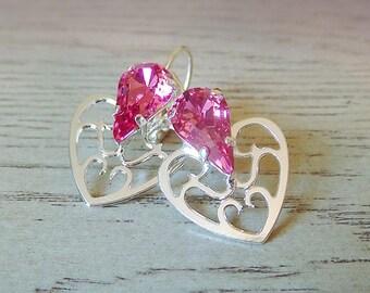 Pink Heart Dangle Earrings, Swarovski Crystal, Valentines Day gift, Pink earrings, valentines earrings, Heart earrings, gift for her