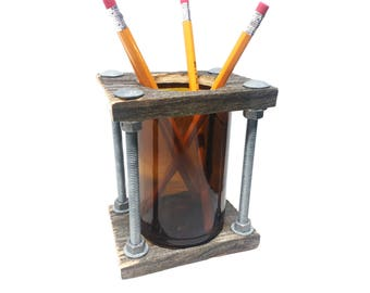 Pen Holder-Hand Made from Reclaimed Wood-Industrial,Rustic design-Good addition for your Desk,Office and Home decor Or as Unique Gift idea