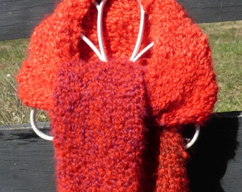 Handmade knit chunky bright red scarf with hints of yellow, green and purple.  Free domestic USPS priority shipping!!