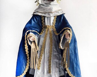 "Virgin Mary Statue of Our lady of Grace 14"" figure Catholic Christian Saints Plaster Religious"