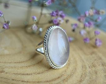 Rose Quartz Ring, Sterling Silver Ring, Boho Ring, Size 6 ring, Handmade Jewelry, Gemstone Ring, Quartz Jewelry, Gift for women, Pink ring