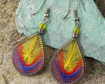 6cm String Earrings - Rainbow Earrings, Boho Earrings, Thread Earrings, String Art Colorful Earrings, Lightweight Earrings J1150