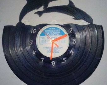 Two Dolphins Vinyl Record Clock