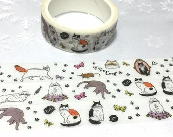 5M x 2cm Cute cat comic cat washi tape white cat grey cat pussy cat naughty cat sticker tape cat theme cat decor planner diary gift