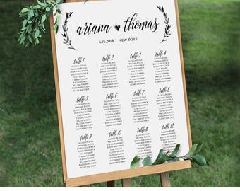 Wedding Seating Chart, Printable Seating Plan Poster, Table Assignment, Editable Template, Modern Calligraphy, Instant Download #023-207SC