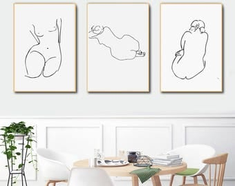 Nude Girl Print Set of 3 Prints Minimalist Art Print Printable Art Matisse Art Picasso Print Nude Art Black White Print Instant Download