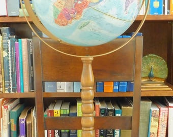 "Vintage Globe, 12"" Diameter Blue Floor Standing, Replogle World Nation, Raised Relief, Metal Base, Wooden Pedestal, Office, Work, Decor"
