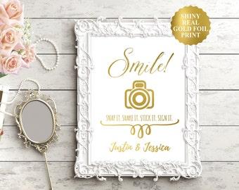 PHOTO GUEST BOOK Wedding Sign / Gold Foil Photo Guestbook Sign / Gold Wedding Signs / Wedding Guestbook Alternative / Silver Foil Wedding