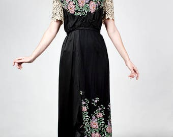 Superb Romantic 1910s Titanic Era Edwardian Gown Black Silk Embroidered Net with Lace Dress