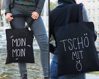 """Bye with ö-turning bag """"Moin und Bye"""" (also unilaterally selectable) carrying bag black-bag-cotton-hand painted-Ahoy, Maritim"""