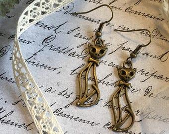 Cat Dangle Earrings, Cat Jewelry, Cat Lover Gift, Gift for Cat Lover, Cat Earrings, Animal Dangle Earrings, Pet Gift, Coworker Gift