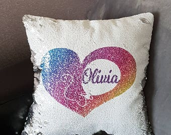 Mermaid Cushion,Sequin Cushion,Reversible Sequin,Decorative Pillow,Hidden Message Gift,Kids Gift Idea,Novelty Gift,Christmas Gift,Cover Only