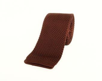 Brown knitted skinny tie wedding tie gift for men groomsmen brown skinny tie