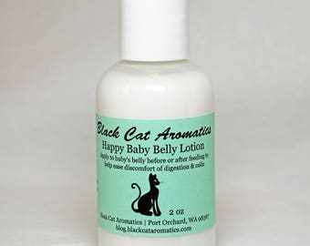 Happy Baby Belly Lotion, Natural Remedy for Colic, Digestive Distress, Digestion Support, Tummy Troubles, Kid Safe, Organic Lotion, 2 oz