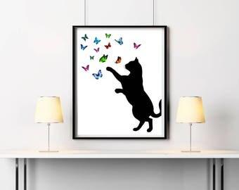 Cat print, Kids fine art, Butterflies print, Nursery decor, Minimalist art, Cat lovers gift, Poster Black art, Baby shower gift, Cute cat