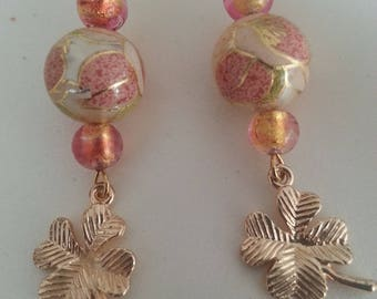 Japanese Tensha beads - Murano glass earrings.