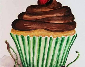 Vanilla Cupcake w/Chocolate Frosting- 5x7 Original Watercolor Commission