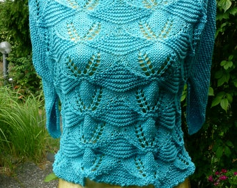"""Blue Knit sweater with """"bag sleeves"""""""