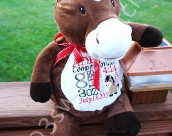 """Personalized HORSE """"Howie"""" Stuffed Animal Embroider Buddy, Large Plush Toy, Custom Embroidered, Baby Child Keepsake Gift, Birth Block Stats"""