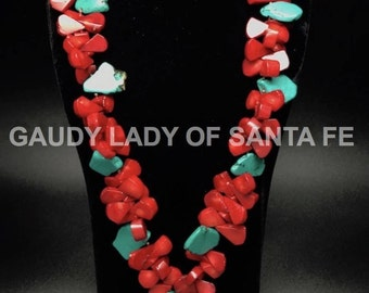 Coral and Turquoise Teardrop Necklace