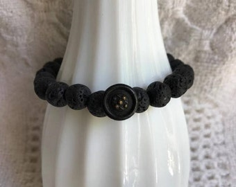 Beaded Stretch Bracelet with Black Lava 8mm Beads-Vintage Metal Button-Upcycled Bracelet-Stackable-Unique-Button Bracelet-One of a Kind