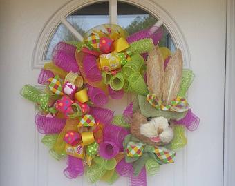 Easter wreath bunny wreath pink green wreath deco mesh wreath