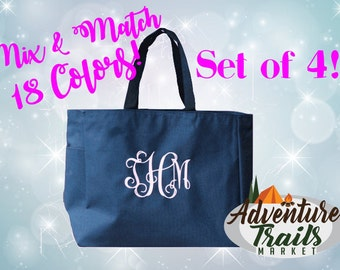 4 Bridal Party Totes, Monogrammed Tote, Set of 4, Beach Tote, Bridesmaid Tote, Wedding Tote, Wedding gift, Bridesmaid Gift, Personalized