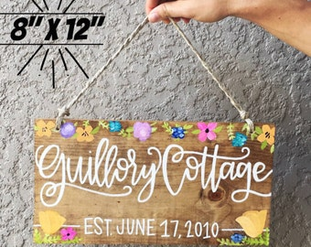 Cottage Decor Sign | Outdoor Home Sign | French Country Cottage | Floral Decor | Custom Family Name Sign