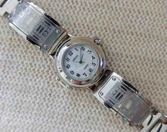 Arenix Quartz 1980s cuff watch and temperature gauge with circuit board design
