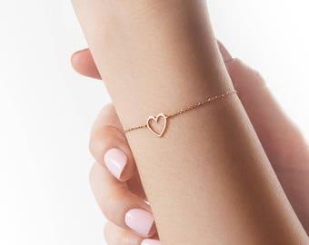 Rose Gold Bracelet, Heart Bracelet, Gold Heart Bracelet, 14K Gold Bracelet, Rose Gold Heart, Love Bracelet, Gift For Her, Dainty Bracelet
