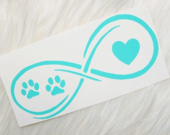 Dog Paws and Heart Infinity Vinyl Decal - Lilly Pulitzer Inspired
