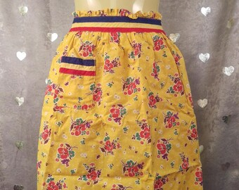 Vintage Half Apron - Yellow Red Flowers, Red White & Blue Band - Hippie, Bohemian, Shaggy Chic, Retro, Pin-Up, Kitchen, Hostess