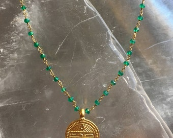 Green Onyx and Gold Pendant Choker Necklace, Gold Pendant Choker, Sanskrit 'Good Health' Pendant Necklace, Pendant Necklace, Choker, JS2148