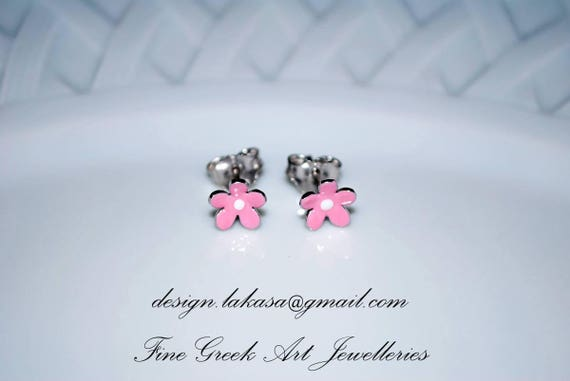 Pink Enamel Flower Stud Earrings Sterling Silver white Gold plated Handmade Jewelry Baby Girl Moda Gift Kids Collection Floral Design