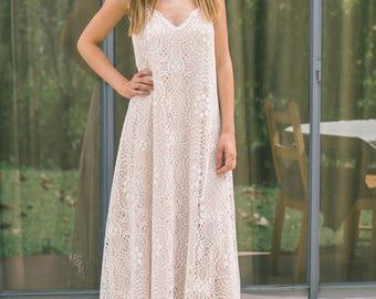 Bohemian wedding dress, Boho wedding dress,  Backless wedding dress,  Open Back Wedding Dress, Vintage Wedding Dress, Lace wedding dress