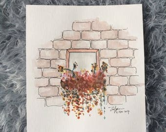 Through the window | Watercolor painting | Paper A5