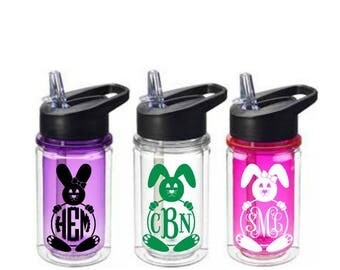 Easter Tumbler, Kids Water Bottle, Easter Basket Gift, Easter Cups, Bunny Water Bottle, Easter Gift for Kids, Easter Bunny Monogram, Bunny