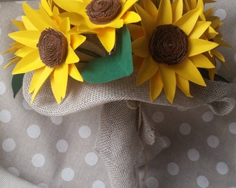 Sunflower bouquet bride country
