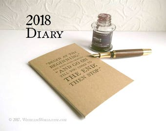 2018 Diary, A6 Kraft Month Planner Notebook - Lewis Carroll Quote Typography   2018 Date Book, Birthday Book   Literary Stocking Filler Gift