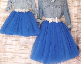"Mother daughter Matching Dress Set ""Royal Blue"" Knee length tulle skirt, mommy and me tulle skirt , tutu skirts, wedding skirts, plus size"