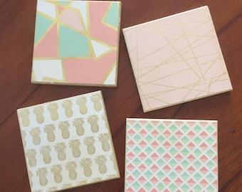 Decorative Drink Coasters (Includes 4 Tile Coasters)