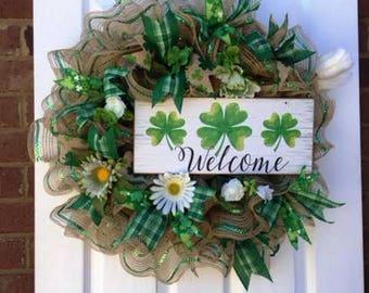 Irish Welcome Wreath, Irish Decor, St. Patrick''s Day Wreath, St. Patrick's Day Decor, Welcome Wreath, Welcome, Irish, St. Patrick's Day