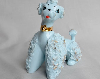 Blue Poodle Ceramic Spaghetti Vintage Japan