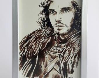 GAME OF THRONES Jon Snow - Original ink with a frame design