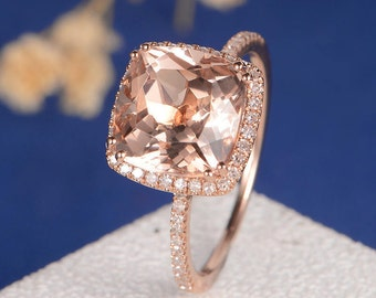 Morganite Engagement Ring Cushion Cut Rose Gold Ring Diamond Halo Half Eternity Antique Peachy Anniversary Promise Women Stacking Bridal