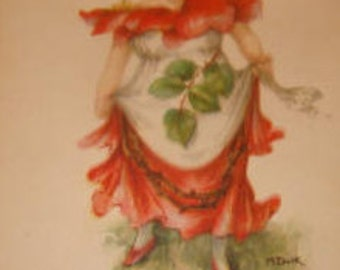 Set of 6 Artist Signed M. Dulk Beautiful Fantasy Postcards (Girls dressed like flowers)