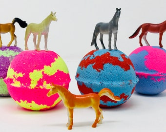 Sale! Three or Five 7.0 oz Horse Farm Animal Bath Bomb Birthday Party Favor Set with Surprise Toy Figure Inside Bath Bomb