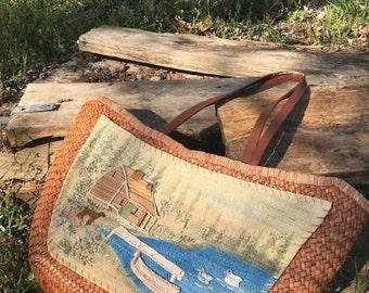 Woven cabin scene tote//beach bag//market tote//tote bag//straw bag