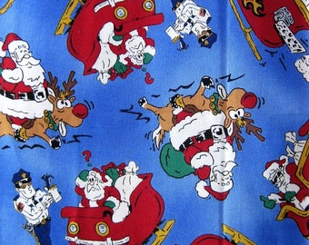 Santa Fabric-Children's Christmas Fabric-Fat Quarters x 4 Squares-Santa Sleigh Reindeer and Policeman-Cotton Quilting Fabric